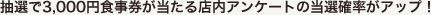 抽選で3000円食事券が当たる店内アンケートの当選確率がアップ!