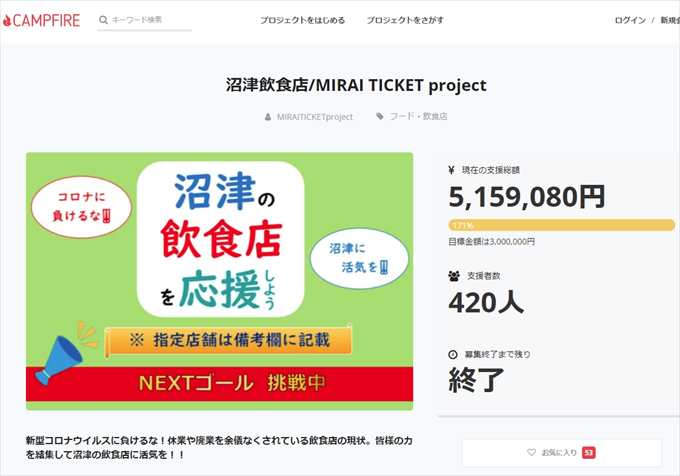 沼津飲食店MIRAI TICKET project